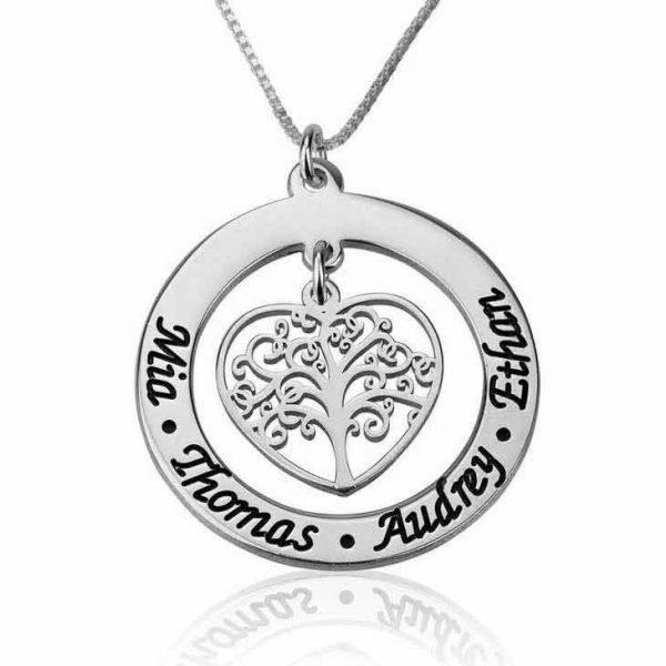 שרשרת לב עץ המשפחה עם חריטה של שמות הילדים