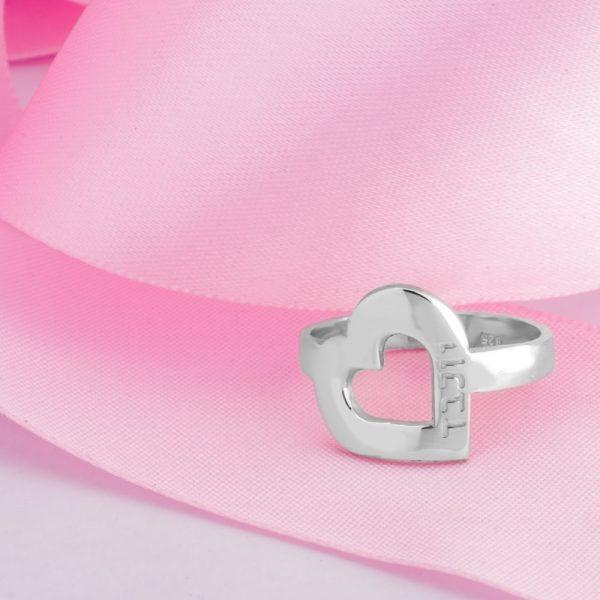 טבעת לב עם חריטת שם