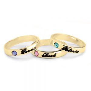 טבעת חריטת שם ואבן לידה
