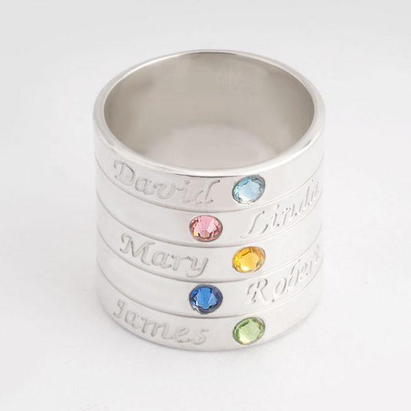 טבעת אבני חן לאמא • כסף 925