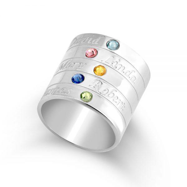 טבעת אבני חן לאמא