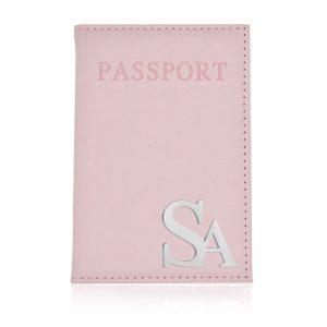 כיסוי דרכון עם אותיות כסף 925